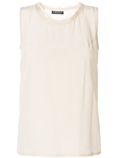 Twin-Set tank top top women nude cotton silk