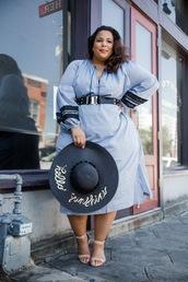 garner style,blogger,dress,hat,shoes,belt,jewels,curvy,blue dress,plus size dress,sandals,summer dress
