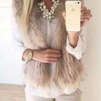 jacket faux fur faux fur vest fur vest