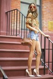 something navy,top,shoes,belt,bag,sunglasses,shorts