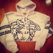 sweater,hoodie,versace,winter outfits,white,medusa,black and white,cropped hoodie,shirt,crophoodie rip top,crop tops,sweatshirt,blouse,aztec hoodie,Wherecanibuythis,white versace sweater wiz khalifa,white versace sweater,jacket,versace jordans,tumblr,drake,logo