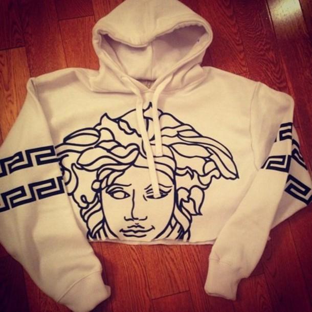 sweater hoodie versace winter outfits white medusa black and white cropped hoodie shirt crophoodie rip top crop tops sweatshirt blouse aztec hoodie Wherecanibuythis white versace sweater wiz khalifa white versace sweater jacket versace jordans tumblr drake logo