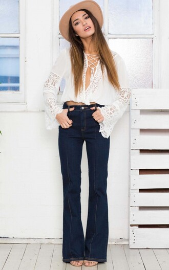 blouse boho flare white lace tie up eyelet hippie crop