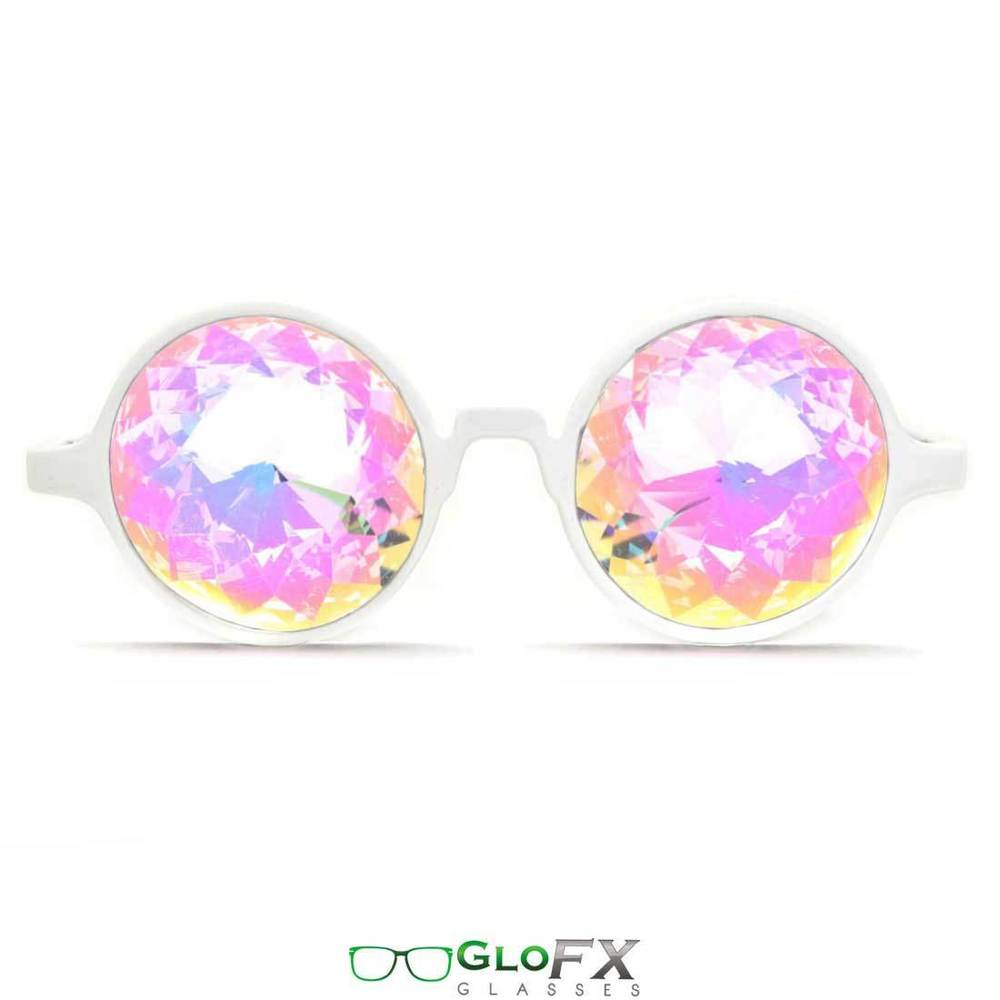 White Frame Kaleidoscope Glasses Rainbow crystal cut lenses prism 3d trippy USA