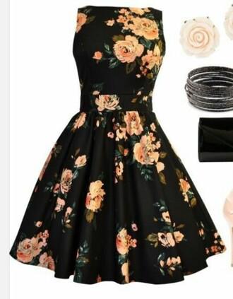 dress black floral dress high neck