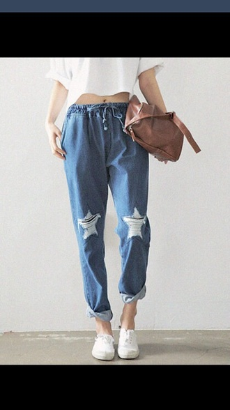 jeans baggy pants baggy jeans boyfriend jeans drawstring drawstring pants draw strings stars ripped jeans ripped/distressed/destroyed jean shorts pants