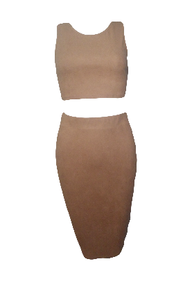 Nude suede two piece