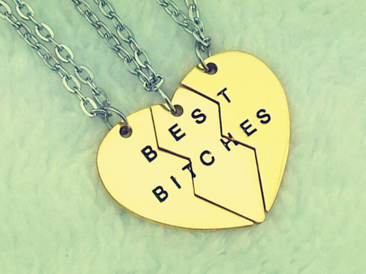 Nouveau style de mode 2014 cassé. coeur 3 pièces or, meilleur bitches& pendentifs colliers, bijoux pour les