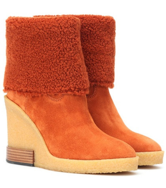 Tod's Suede wedge ankle boots in orange
