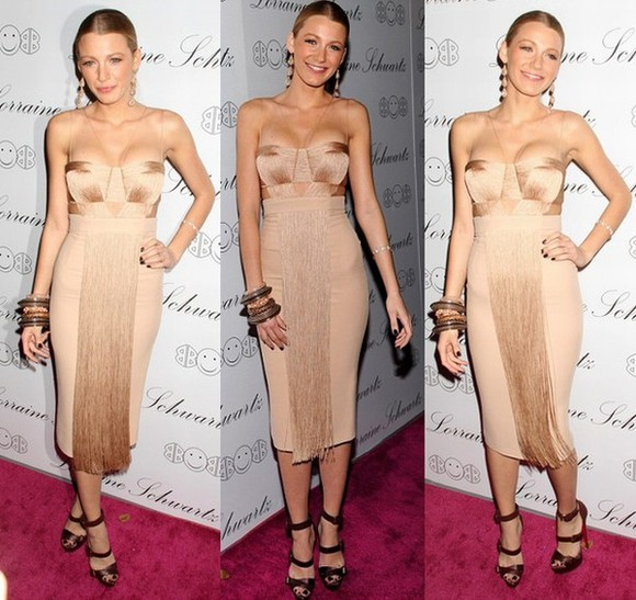 blake lively Versace tassel fringe dress celebrity style celebrity dresses sexy dress bodycon dress
