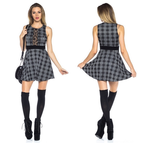 dress studious study back to school school girl girl makeup table vanity row dress to kill plaid blue grey mini rock vogue