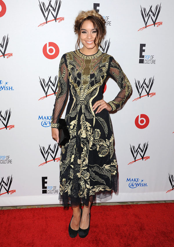 Hot! or Hmm…: Vanessa Hudgens's WWE and E! Presents <i> Superstars For Hope</i> Temperley London Black And Gold Embroidered Dress
