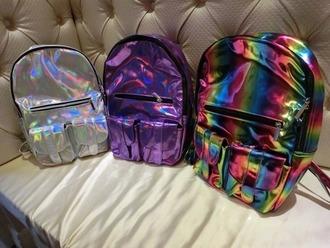 bag iridescent holographic hologram backpack school bag