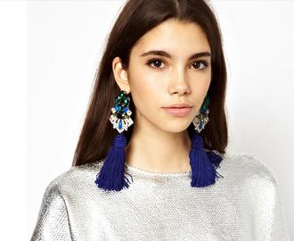 jewels tassel earrings crysta learrings big earrings blue crystal dangle earrings dangle earrings boho earrings boho jewelry flower earrings tassels earring blue earrings