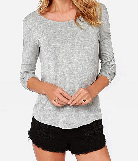 Back crossed v neck backless solid color light gray boat neck long sleeve t