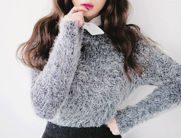 sweater fuzzy sweater grey