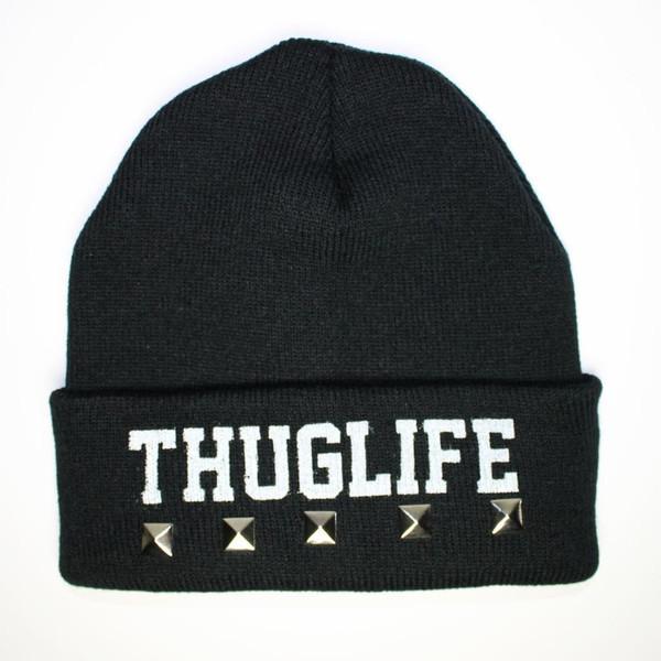 Thug Life x Black Beanie - Polyvore