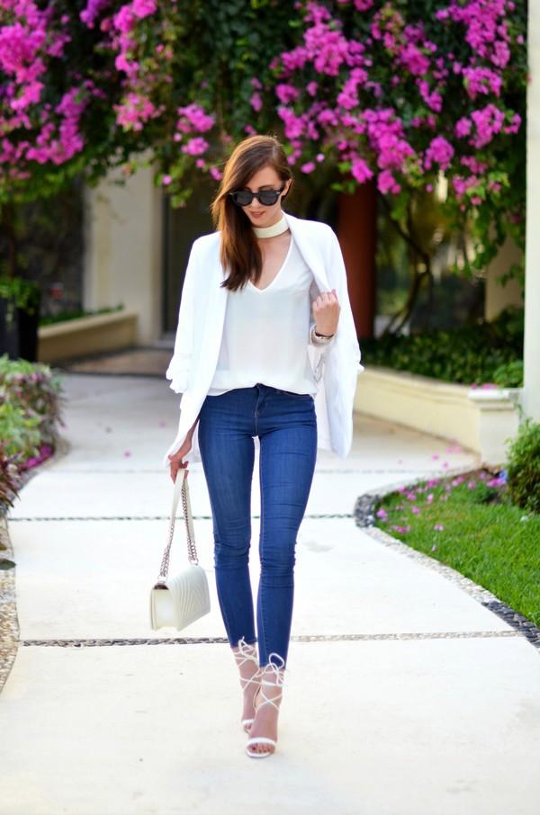 vogue haus blogger top jacket jeans shoes bag sunglasses jewels