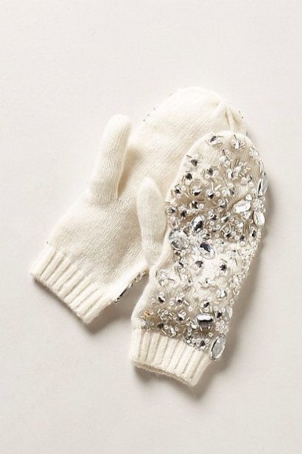 jewels jewels cute white gloves mittens