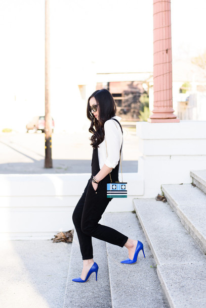 the fancy pants report blogger bag sunglasses overalls white shirt shirt shoes jumpsuit