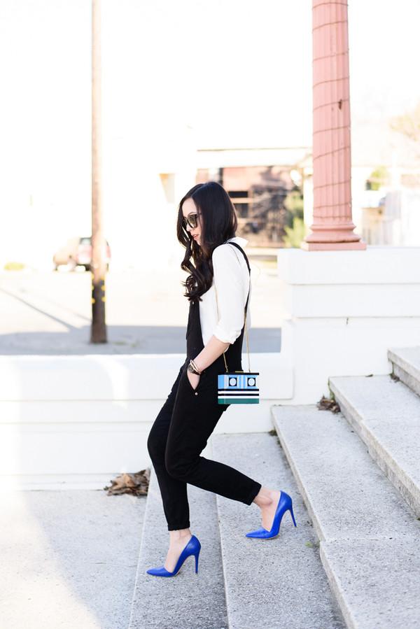 636e975def2c the fancy pants report blogger bag sunglasses overalls white shirt shirt  shoes jumpsuit.