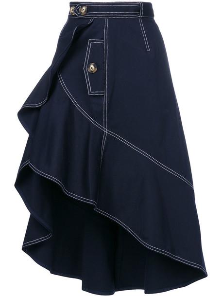 self-portrait skirt women cotton blue