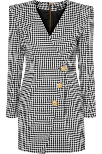 Balmain - Wrap-effect Houndstooth Cotton-blend Jacquard Mini Dress - Gray