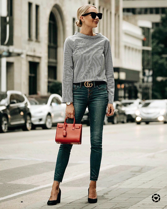 top tumblr long sleeves stripes striped top denim jeans blue jeans belt bag mini bag shoes sunglasses fashionjackson blogger shirt jewels red bag gucci belt pumps fall outfits