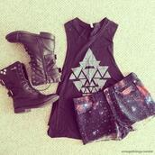 shirt,t-shirt,tank top,muscle tee,wanted,shorts,galaxy shorts,shoes,lether,chill,triangle,black triangle top