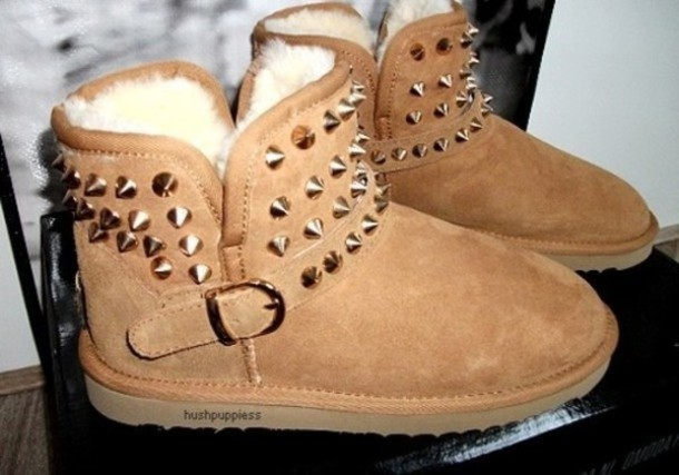 shoes, boots, studs, spikes, ugg boots, ugg boots, stud, stud ugg boots, ugg boots, brown, studded, beige, belt, low, winter outfits, cold, cute, ...