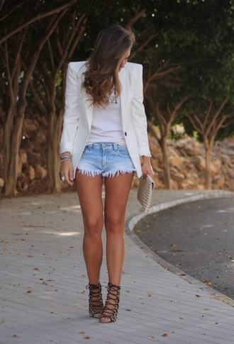jacket white high heels blazer summer outfits style white blazer white jacket denim shorts denim strappy sandals heels high heel sandals