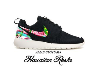 black sneakers customized sneaker amac customs hawaiian roshe run nike nike running shoes nike sneakers nike roshe run white sole black hawaiian print multicolor sneakers sneakers customised shoes printed swoosh customised nikes roshe runs mens shoes menswear for men hawaiian printed sneakers amac custom women roshe hawaiian  black