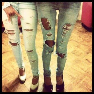 jeans light blue denim vintage fashion holes dark blue destroyed high heels ripped jeans skinny jeans shoes
