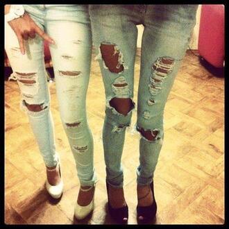 jeans light blue denim vintage fashion holes dark blue ripped high heels ripped jeans skinny jeans shoes teen in heels teens in heels shoe porn