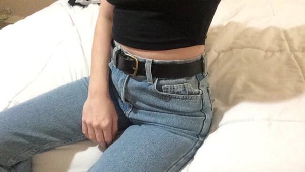 Jeans Mom Jeans Black Belt 90s Style Vintage 80s