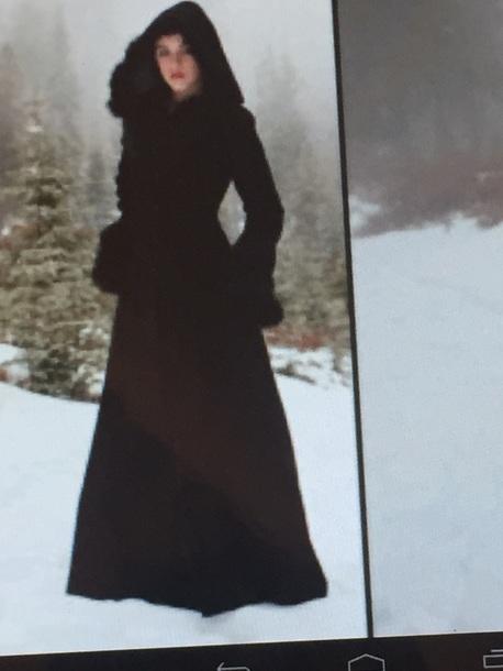coat black woollen long coat