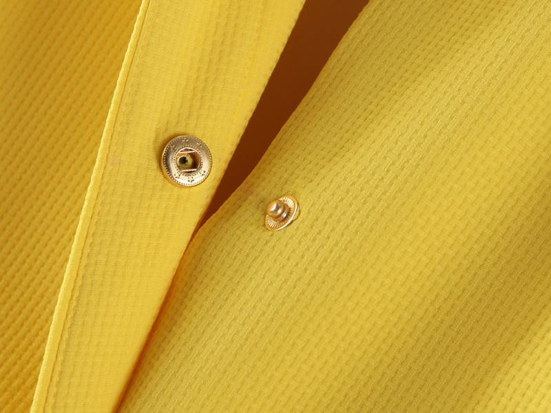 Yellow Lapel Long Sleeve Pockets Outerwear - Sheinside.com