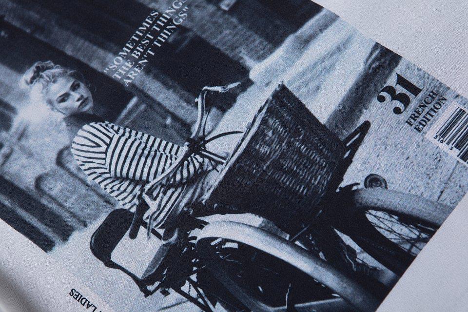 Street Pattern Print Stripe Contrast T-shirt [FCBI00500] - PersunMall.com
