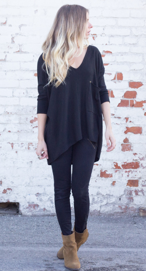 sweater long sleeves baggy slouchy oversized knit shirt top black