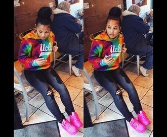shirt shoes pink nike nike air max 90 neon pink air max 90 tie dye tye dye jacket jacket rainbow hoodie sweatshirt laid back style black jeans ripped jeans sweater