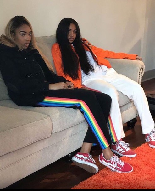 e5047dfc78724 pants, adidas, rainbow, stripes, black - Wheretoget