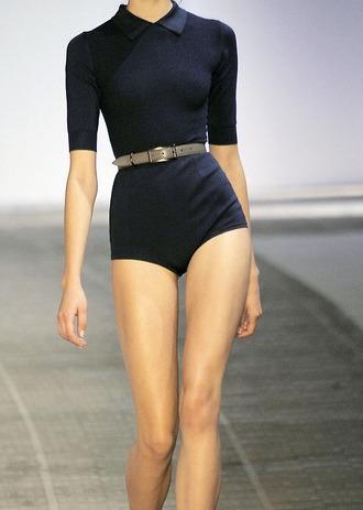 dress belt swimwear navy collar tan runway