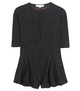 blouse wool black top