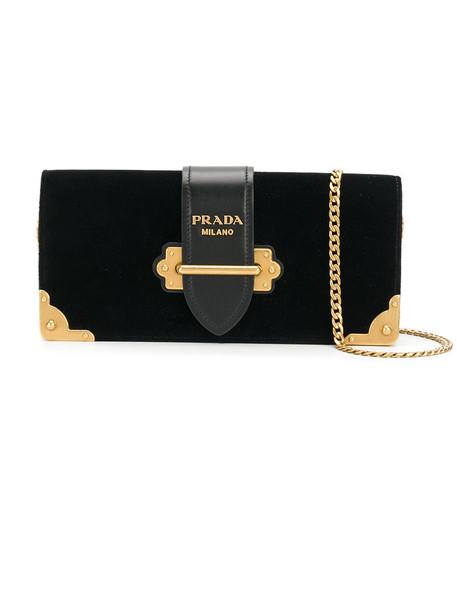 Prada women clutch leather black velvet bag