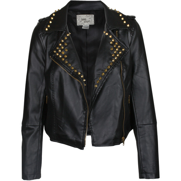Spiked Leather Moto Jacket in Black | Buy Women's Leather Ja... - Polyvore
