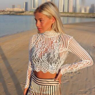 top motel crop tops crop lace top white top long sleeves summer summer outfits stripes beach