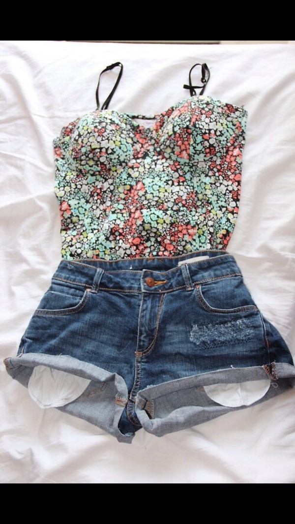 tank top shorts shirt flowers colorful blue top jeans