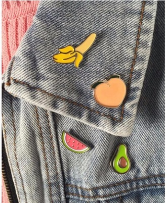 home accessory pins tumblr fruits banana print peach watermelon print denim jacket