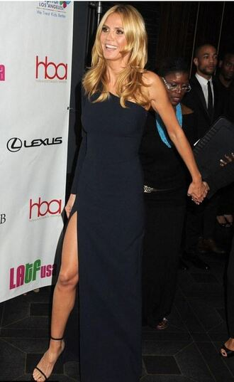 dress one shoulder slit dress gown prom dress heidi klum sandals