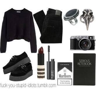 sweater ring skull ring bird ring crow ring marlboro nars rimmel make-up lipstick red velvet red lipstick creepers shoes platform boots jumper shirt black pants denim black pants skinny pants camera goth alternative emo pastel goth nu goth grunge